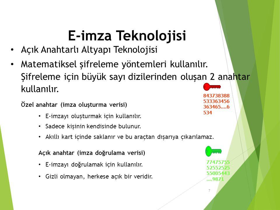 E-imza Teknolojisi Açık Anahtarlı Altyapı Teknolojisi Matematiksel şifreleme yöntemleri kullanılır.