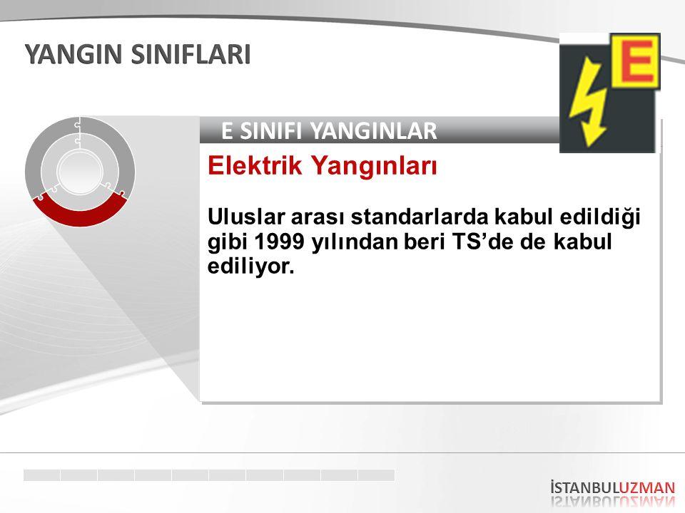E SINIFI YANGINLAR Elektrik Yangınları Uluslar arası standarlarda kabul edildiği gibi 1999 yılından beri TS'de de kabul ediliyor. Elektrik Yangınları
