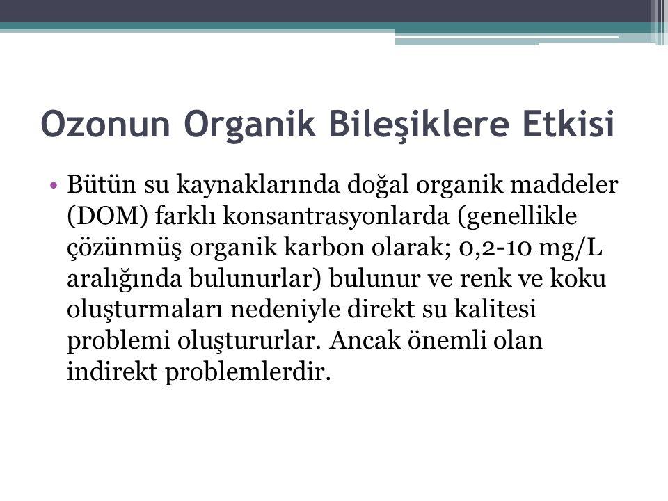 Ozonun Organik Bileşiklere Etkisi Bütün su kaynaklarında doğal organik maddeler (DOM) farklı konsantrasyonlarda (genellikle çözünmüş organik karbon ol