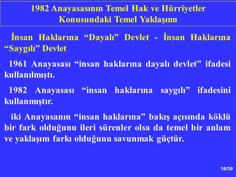 16/39 İnsan Haklarına Dayalı Devlet - İnsan Haklarına Saygılı Devlet 1961 Anayasası insan haklarına dayalı devlet ifadesi kullanılmıştı.