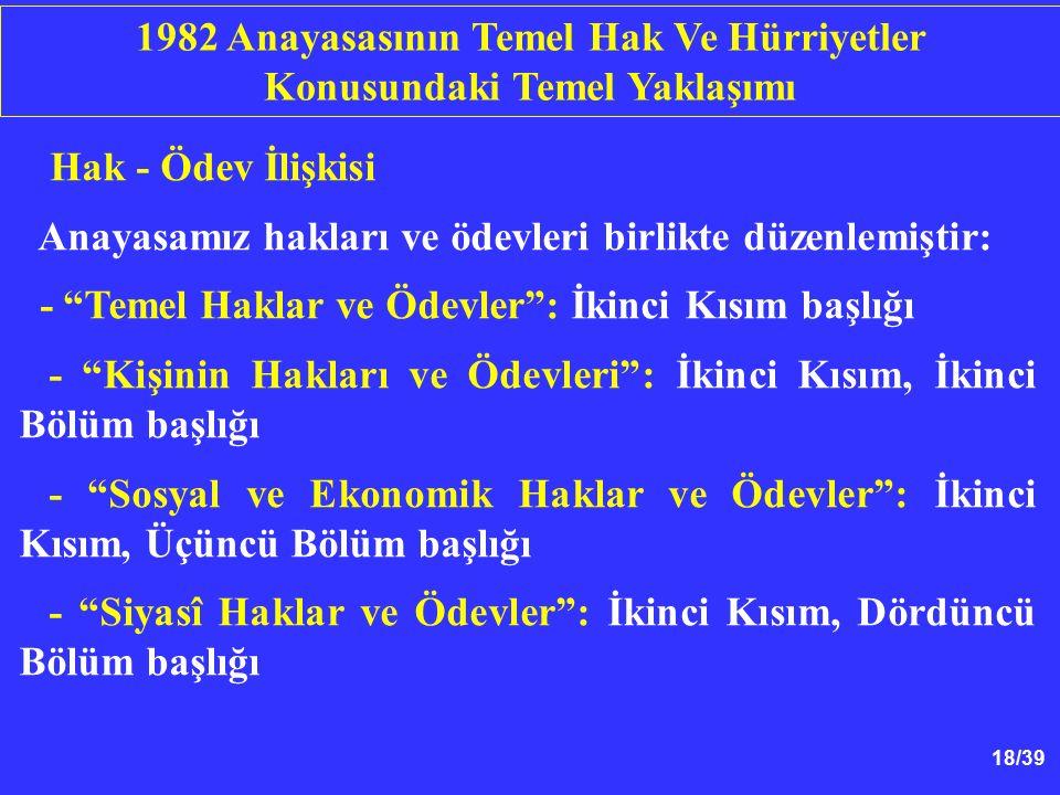 18/39 Hak - Ödev İlişkisi Anayasamız hakları ve ödevleri birlikte düzenlemiştir: - Temel Haklar ve Ödevler : İkinci Kısım başlığı - Kişinin Hakları ve Ödevleri : İkinci Kısım, İkinci Bölüm başlığı - Sosyal ve Ekonomik Haklar ve Ödevler : İkinci Kısım, Üçüncü Bölüm başlığı - Siyasî Haklar ve Ödevler : İkinci Kısım, Dördüncü Bölüm başlığı 1982 Anayasasının Temel Hak Ve Hürriyetler Konusundaki Temel Yaklaşımı