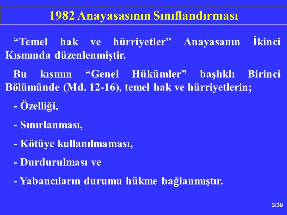 24/39 1.Sınırlama Kanunla Yapılmalıdır - 1982 Anayasası Md.