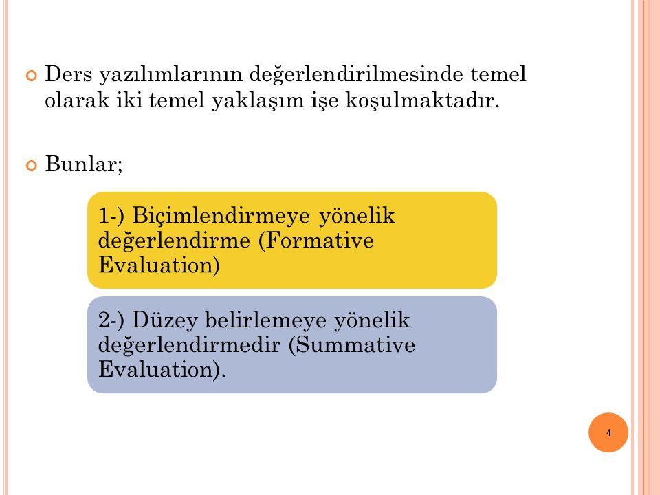 1-) B IÇIMLENDIRMEYE Y ÖNELIK D EĞERLENDIRME (F ORMATIVE E VALUATION ) Tasarımın her aşamasında devam eden bir değerlendirme biçimidir.