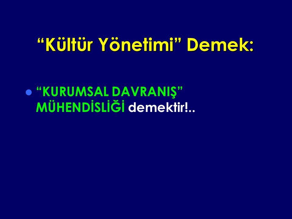 Kültür Yönetimi Demek: KURUMSAL DAVRANIŞ MÜHENDİSLİĞİ demektir!..