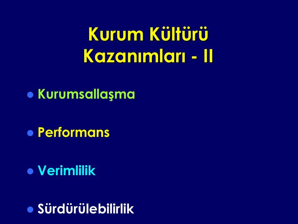 Kurum Kültürü Kazanımları - II Kurumsallaşma Performans Verimlilik Sürdürülebilirlik