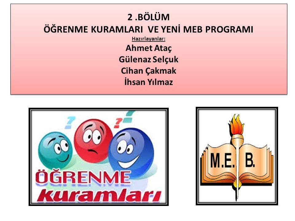 2.BÖLÜM ÖĞRENME KURAMLARI VE YENİ MEB PROGRAMI Hazırlayanlar: Ahmet Ataç Gülenaz Selçuk Cihan Çakmak İhsan Yılmaz