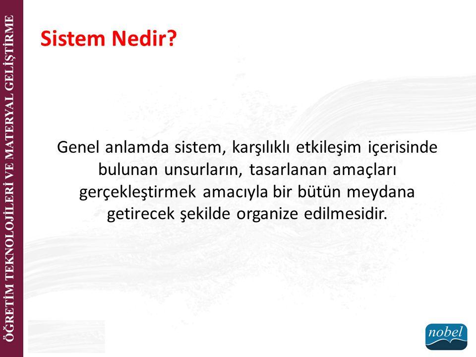 Sistem Nedir? Genel anlamda sistem, karşılıklı etkileşim içerisinde bulunan unsurların, tasarlanan amaçları gerçekleştirmek amacıyla bir bütün meydana
