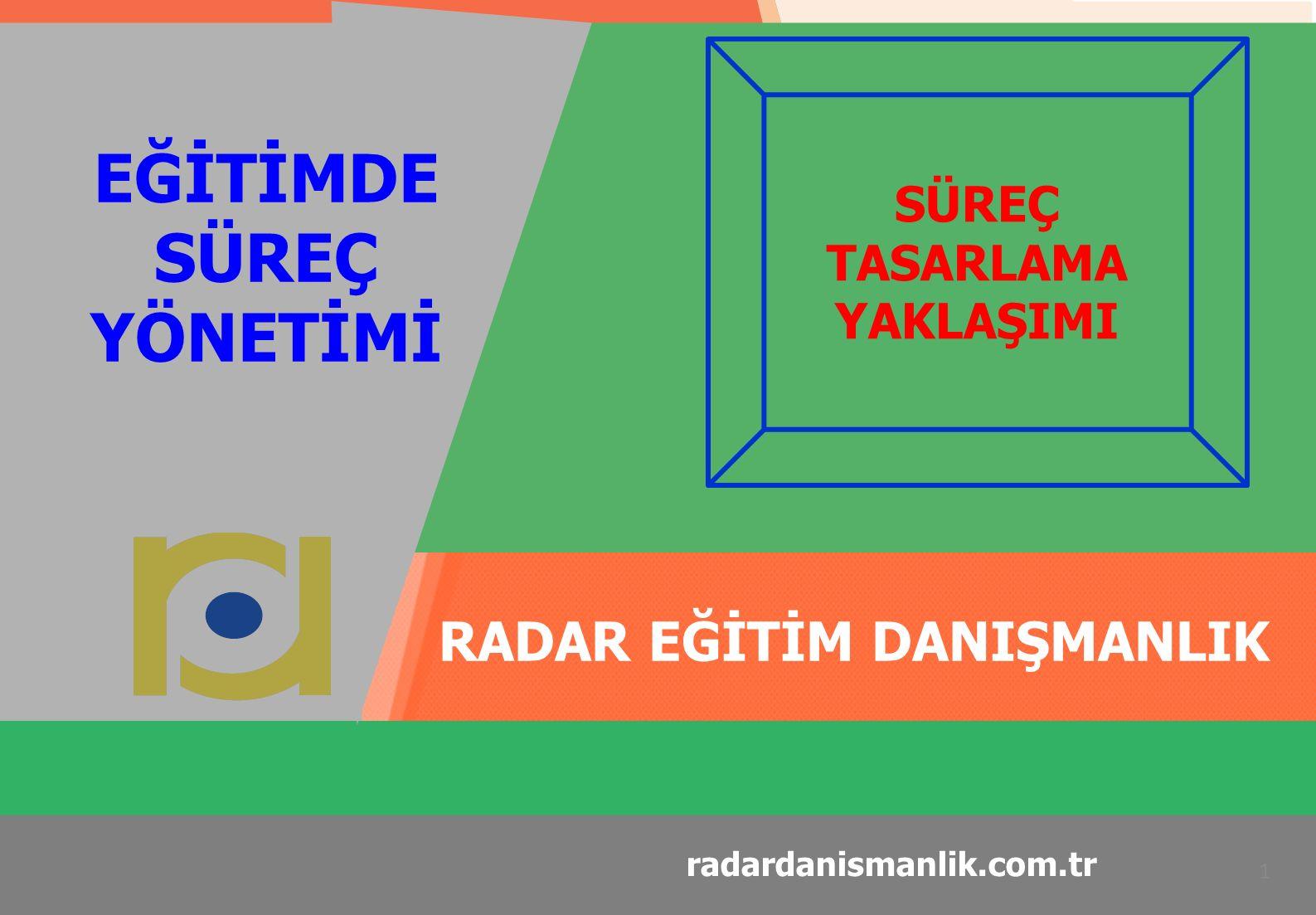 RADAR EĞİTİM DANIŞMANLIK 1 radardanismanlik.com.tr EĞİTİMDE SÜREÇ YÖNETİMİ SÜREÇ TASARLAMA YAKLAŞIMI