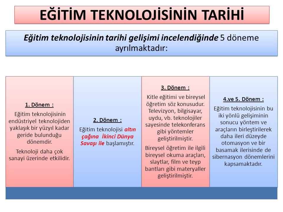 Eğitim teknolojisinin tarihi gelişimi incelendiğinde 5 döneme ayrılmaktadır: 1.