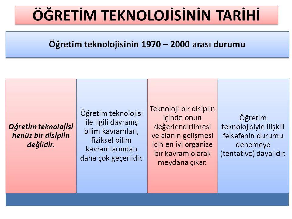 Öğretim teknolojisinin 1970 – 2000 arası durumu Öğretim teknolojisi henüz bir disiplin değildir. Öğretim teknolojisi ile ilgili davranış bilim kavraml