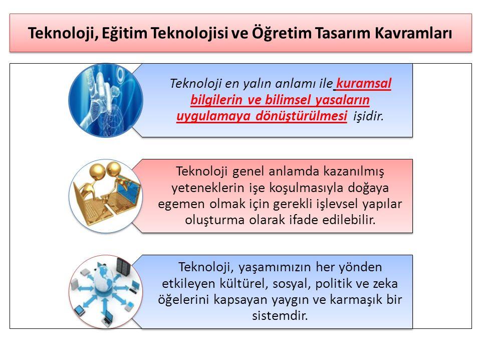 Teknoloji, Eğitim Teknolojisi ve Öğretim Tasarım Kavramları Teknoloji en yalın anlamı ile kuramsal bilgilerin ve bilimsel yasaların uygulamaya dönüştü