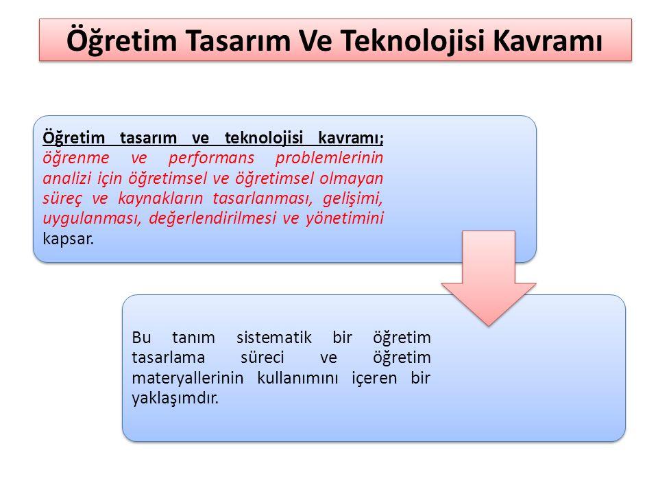 Öğretim Tasarım Ve Teknolojisi Kavramı Öğretim tasarım ve teknolojisi kavramı; öğrenme ve performans problemlerinin analizi için öğretimsel ve öğretim