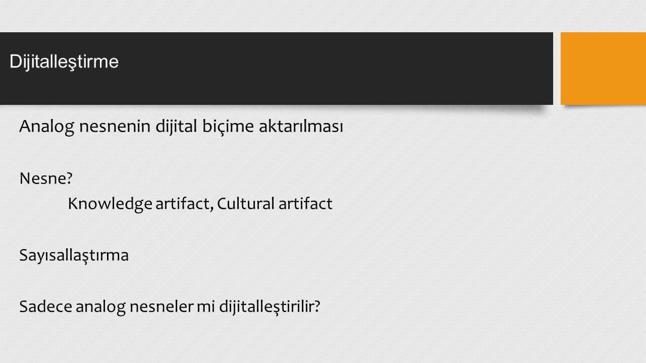 Analog nesnenin dijital biçime aktarılması Nesne.