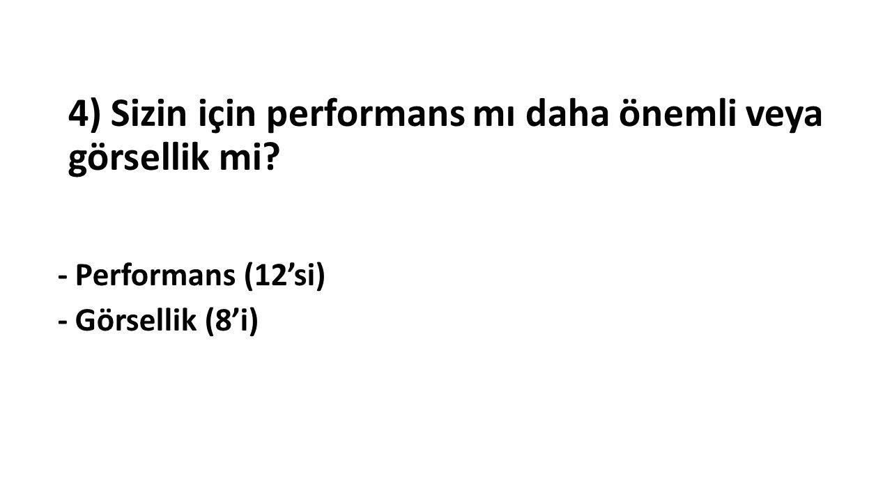 4) Sizin için performans mı daha önemli veya görsellik mi - Performans (12'si) - Görsellik (8'i)