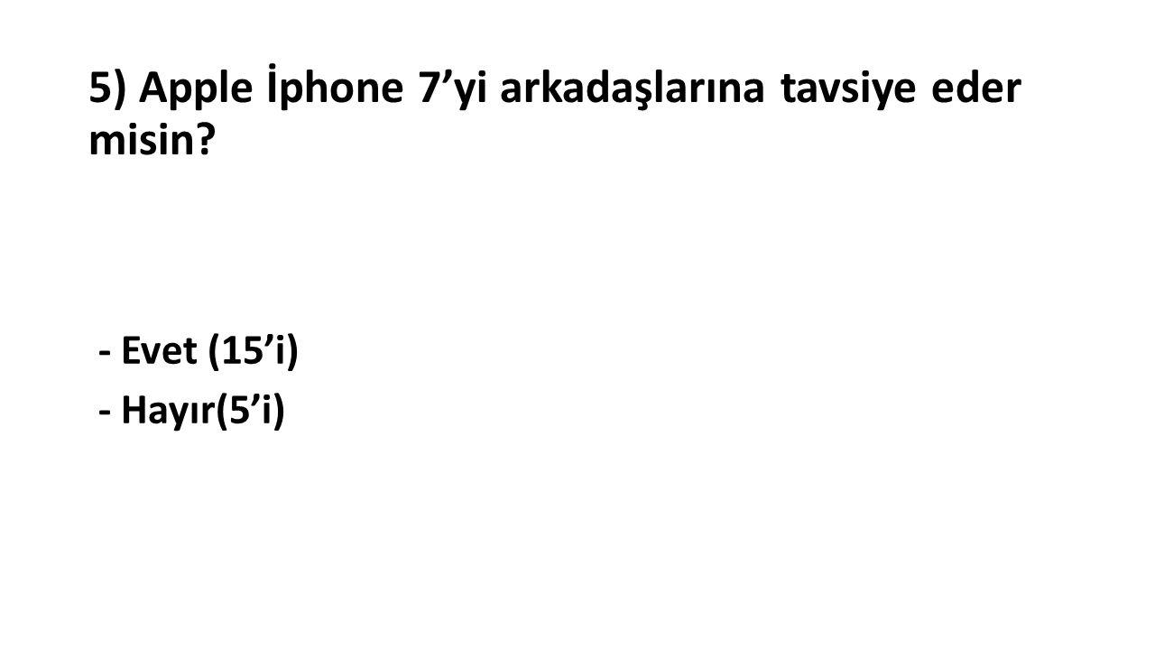 5) Apple İphone 7'yi arkadaşlarına tavsiye eder misin - Evet (15'i) - Hayır(5'i)