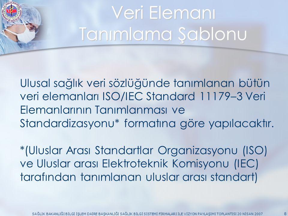 SAĞLIK BAKANLIĞI BİLGİ İŞLEM DAİRE BAŞKANLIĞI SAĞLIK BİLGİ SİSTEMİ FİRMALARI İLE VİZYON PAYLAŞIMI TOPLANTISI 20 NİSAN 2007 8 Veri Elemanı Tanımlama Şablonu Ulusal sağlık veri sözlüğünde tanımlanan bütün veri elemanları ISO/IEC Standard 11179–3 Veri Elemanlarının Tanımlanması ve Standardizasyonu* formatına göre yapılacaktır.