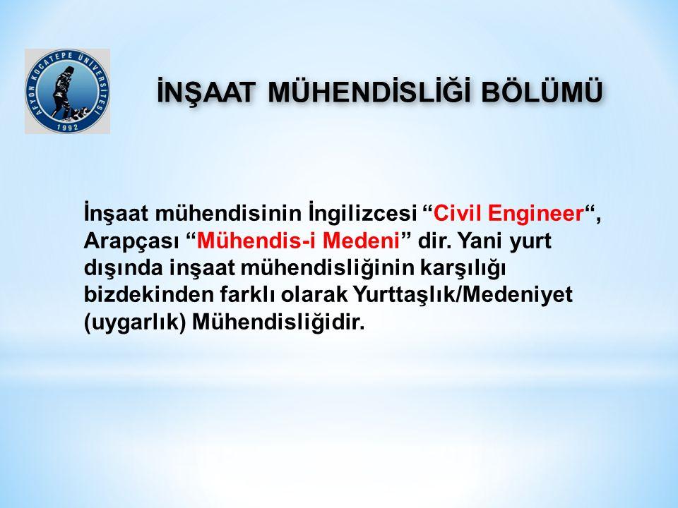"""İnşaat mühendisinin İngilizcesi """"Civil Engineer"""", Arapçası """"Mühendis-i Medeni"""" dir. Yani yurt dışında inşaat mühendisliğinin karşılığı bizdekinden far"""