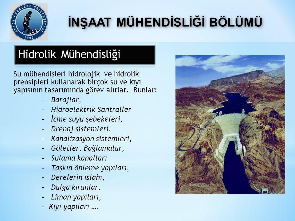 Su mühendisleri hidrolojik ve hidrolik prensipleri kullanarak birçok su ve kıyı yapısının tasarımında görev alırlar. Bunlar: –Barajlar, –Hidroelektrik