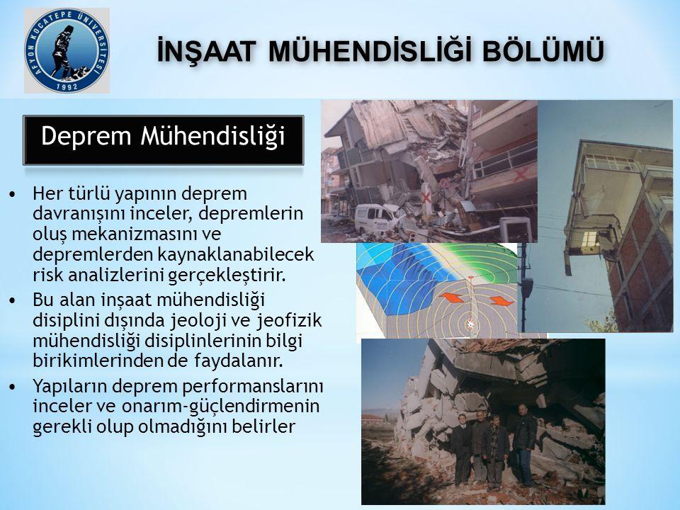 Her türlü yapının deprem davranışını inceler, depremlerin oluş mekanizmasını ve depremlerden kaynaklanabilecek risk analizlerini gerçekleştirir.