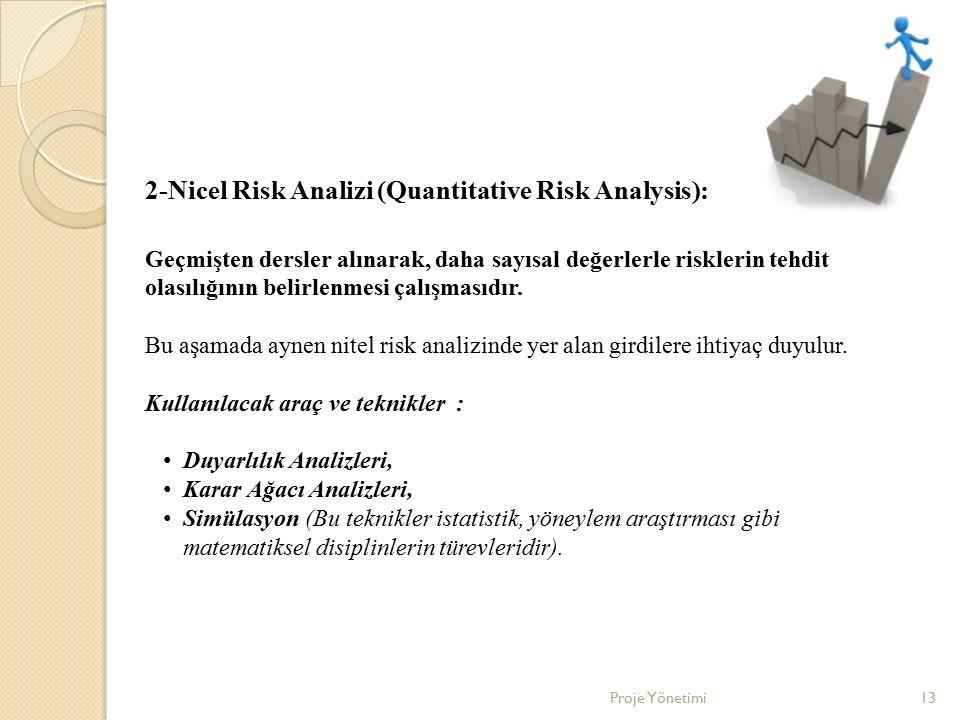 Proje Yönetimi13 2-Nicel Risk Analizi (Quantitative Risk Analysis): Geçmişten dersler alınarak, daha sayısal değerlerle risklerin tehdit olasılığının