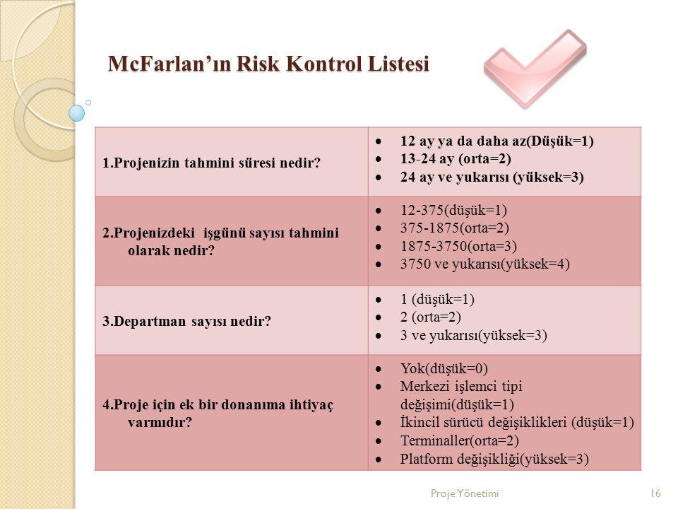 McFarlan'ın Risk Kontrol Listesi 1.Projenizin tahmini süresi nedir?  12 ay ya da daha az(Düşük=1)  13-24 ay (orta=2)  24 ay ve yukarısı (yüksek=3)