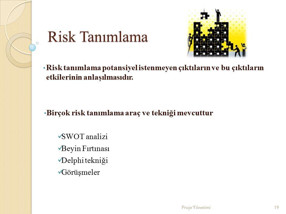 Risk Tanımlama Risk tanımlama potansiyel istenmeyen çıktıların ve bu çıktıların etkilerinin anlaşılmasıdır. Birçok risk tanımlama araç ve tekniği mevc