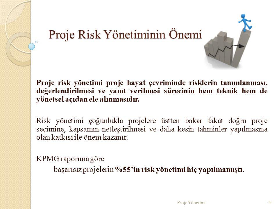 Proje Risk Yönetiminin Önemi Proje risk yönetimi proje hayat çevriminde risklerin tanımlanması, değerlendirilmesi ve yanıt verilmesi sürecinin hem tek