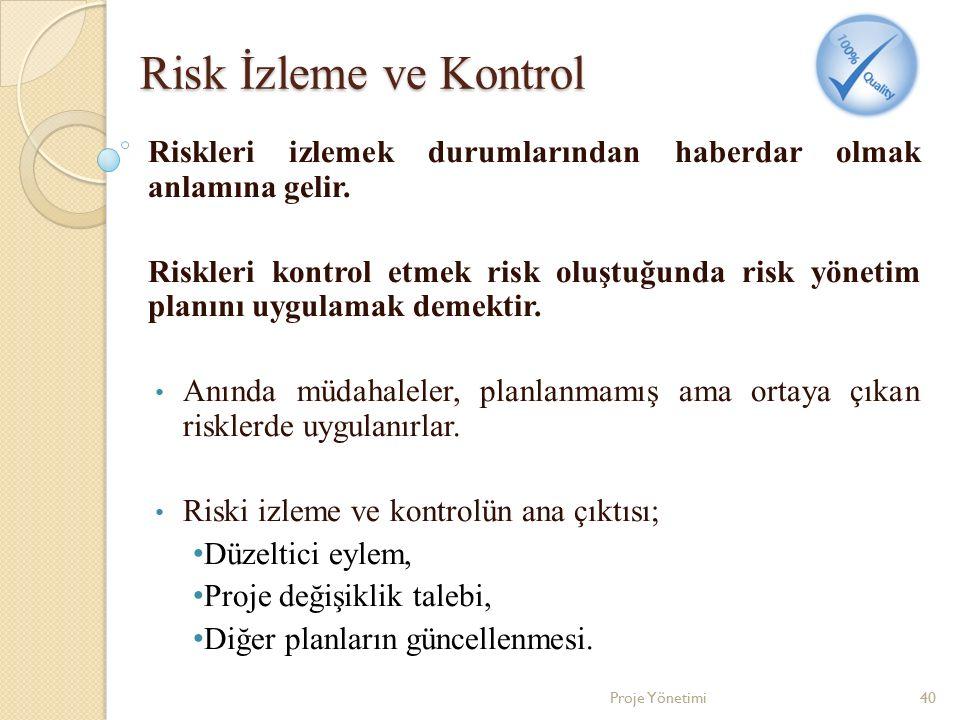 Risk İzleme ve Kontrol Riskleri izlemek durumlarından haberdar olmak anlamına gelir. Riskleri kontrol etmek risk oluştuğunda risk yönetim planını uygu