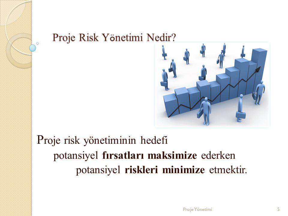 Proje Risk Y ö netimi Nedir? P roje risk yönetiminin hedefi potansiyel fırsatları maksimize ederken potansiyel riskleri minimize etmektir. 5Proje Yöne