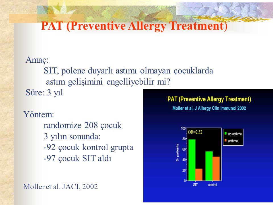 39 PAT (Preventive Allergy Treatment) Amaç: SIT, polene duyarlı astımı olmayan çocuklarda astım gelişimini engelliyebilir mi? Süre: 3 yıl Yöntem: rand