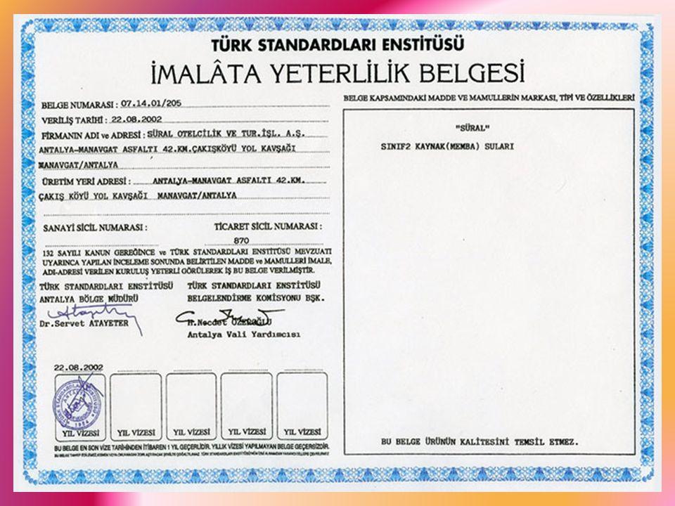 Ürünlerin ( madde, mamul veya mahsüllerin ) Belgelendirmesi Türk Standartları Ensitütüsü ' nden her kurum ve kuruluş belge alamaz.