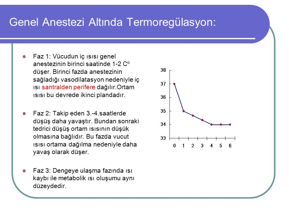 Genel Anestezi Altında Termoregülasyon: Faz 1: Vücudun iç ısısı genel anestezinin birinci saatinde 1-2 Cº düşer. Birinci fazda anestezinin sağladığı v
