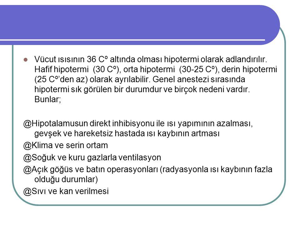 Vücut ısısının 36 Cº altında olması hipotermi olarak adlandırılır. Hafif hipotermi (30 Cº), orta hipotermi (30-25 Cº), derin hipotermi (25 Cº'den az)