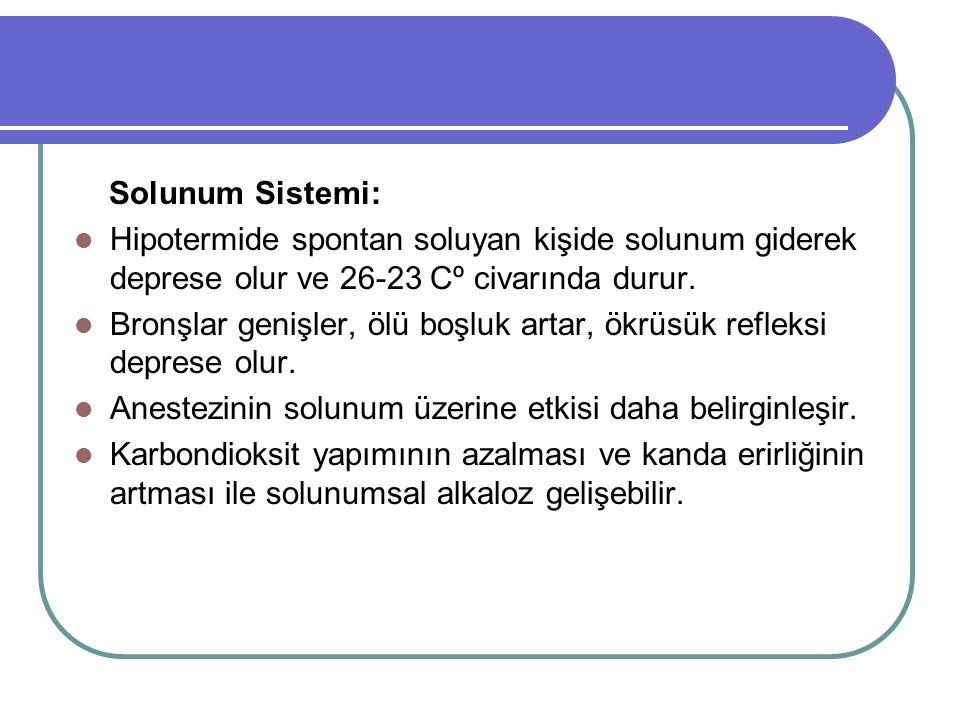Solunum Sistemi: Hipotermide spontan soluyan kişide solunum giderek deprese olur ve 26-23 Cº civarında durur. Bronşlar genişler, ölü boşluk artar, ökr