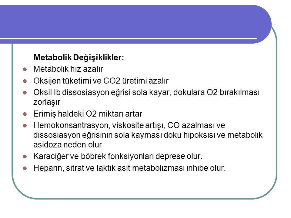 Metabolik Değişiklikler: Metabolik hız azalır Oksijen tüketimi ve CO2 üretimi azalır OksiHb dissosiasyon eğrisi sola kayar, dokulara O2 bırakılması zo