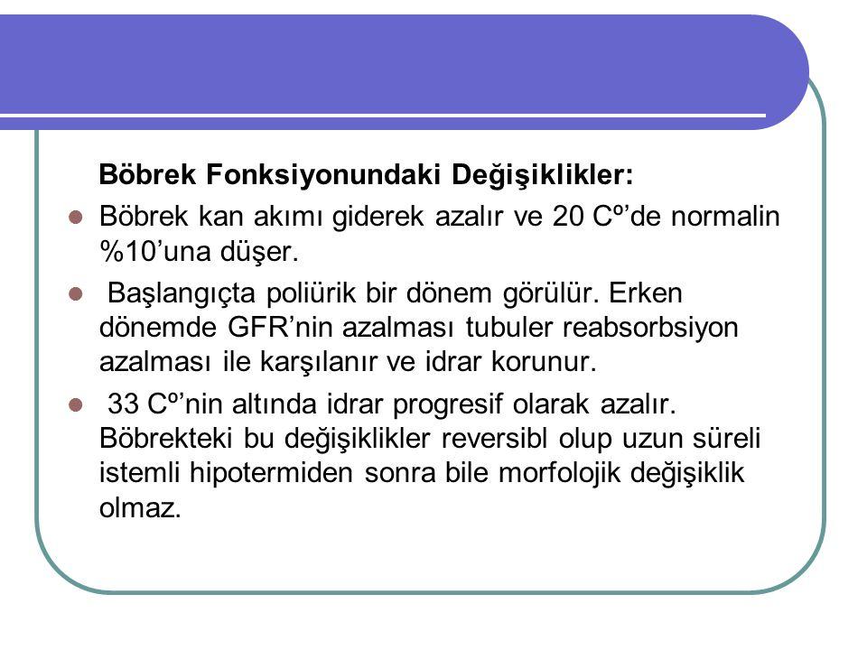 Böbrek Fonksiyonundaki Değişiklikler: Böbrek kan akımı giderek azalır ve 20 Cº'de normalin %10'una düşer. Başlangıçta poliürik bir dönem görülür. Erke