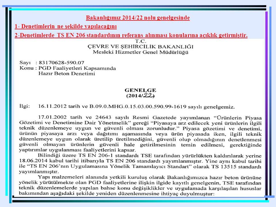 14 Bakanlığımız 2014/22 nolu genelgesinde 1- Denetimlerin ne şekilde yapılacağını 2-Denetimlerde TS EN 206 standardının referans alınması konularına a