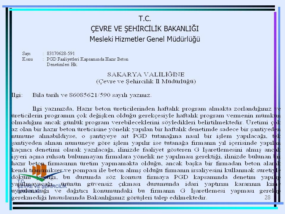 T.C. ÇEVRE VE ŞEHİRCİLİK BAKANLIĞI Mesleki Hizmetler Genel Müdürlüğü 28