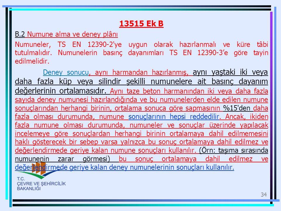 13515 Ek B B.2 Numune alma ve deney plânı Numuneler, TS EN 12390-2'ye uygun olarak hazırlanmalı ve küre tâbi tutulmalıdır. Numunelerin basınç dayanıml
