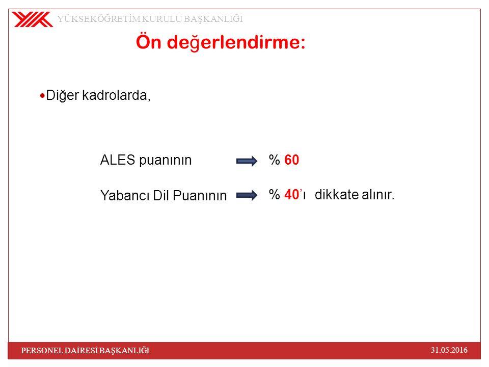 Ön de ğ erlendirme: ALES puanının Yabancı Dil Puanının YÜKSEKÖĞRETİM KURULU BAŞKANLIĞI 31.05.2016 PERSONEL DAİRESİ BAŞKANLIĞI % 60 % 40'ıdikkate alını