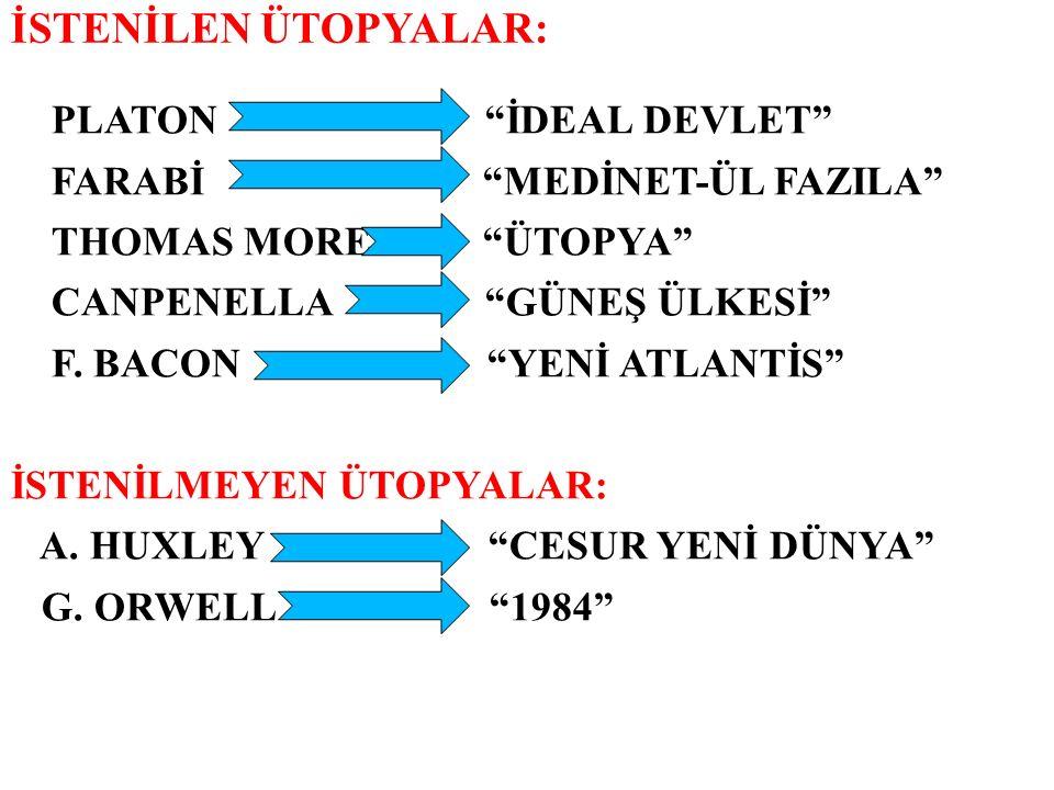 """İSTENİLEN ÜTOPYALAR: PLATON """"İDEAL DEVLET"""" FARABİ """"MEDİNET-ÜL FAZILA"""" THOMAS MORE """"ÜTOPYA"""" CANPENELLA """"GÜNEŞ ÜLKESİ"""" F. BACON """"YENİ ATLANTİS"""" İSTENİLM"""