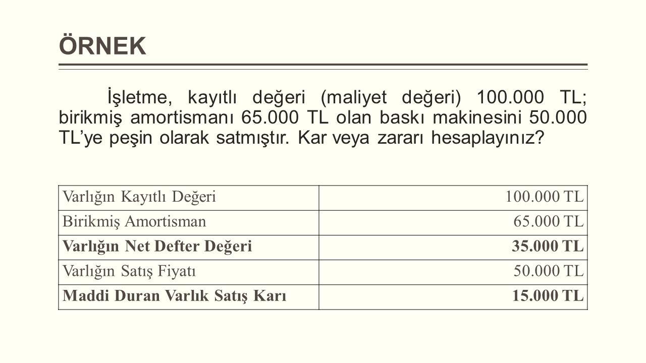 ÖRNEK İşletme, kayıtlı değeri (maliyet değeri) 100.000 TL; birikmiş amortismanı 65.000 TL olan baskı makinesini 50.000 TL'ye peşin olarak satmıştır.