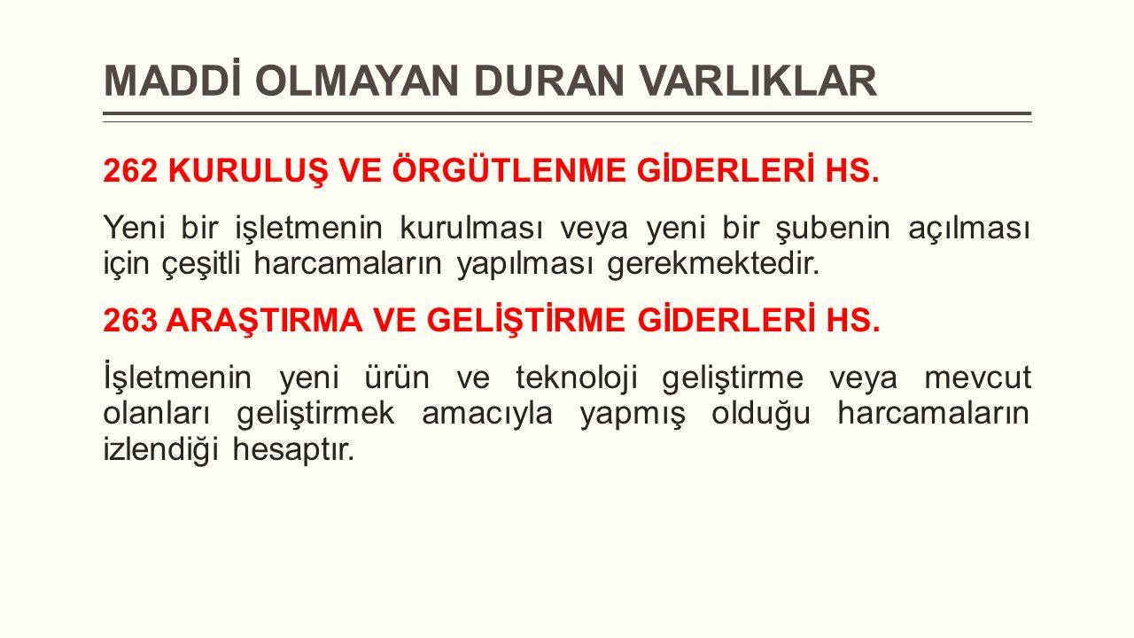 MADDİ OLMAYAN DURAN VARLIKLAR 262 KURULUŞ VE ÖRGÜTLENME GİDERLERİ HS.