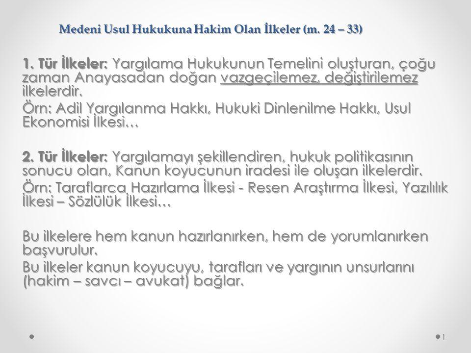 Medeni Usul Hukukuna Hakim Olan İlkeler (m.24 – 33) 1.