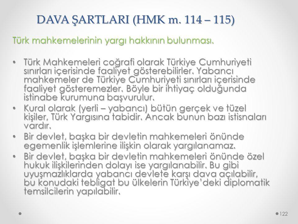DAVA ŞARTLARI (HMK m. 114 – 115) Türk mahkemelerinin yargı hakkının bulunması. Türk Mahkemeleri coğrafi olarak Türkiye Cumhuriyeti sınırları içerisind