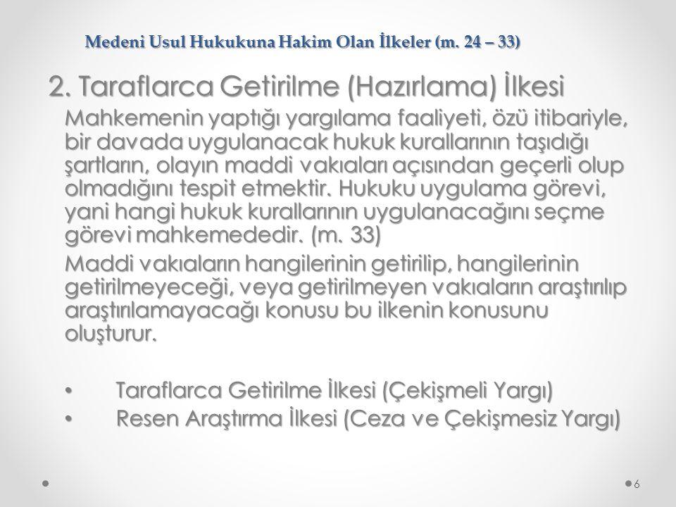 Medeni Usul Hukukuna Hakim Olan İlkeler (m.24 – 33) 2.