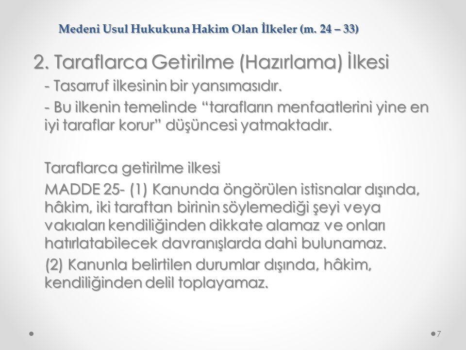 Medeni Usul Hukukuna Hakim Olan İlkeler (m.24 – 33) 8.