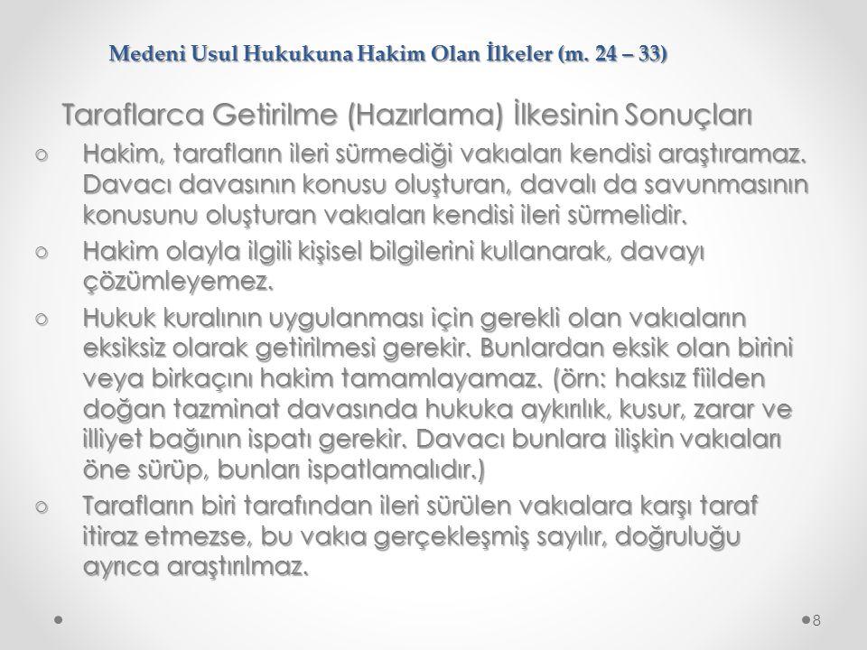 Medeni Usul Hukukuna Hakim Olan İlkeler (m.24 – 33) Adil Yargılanma Hakkının Unsurları 1.
