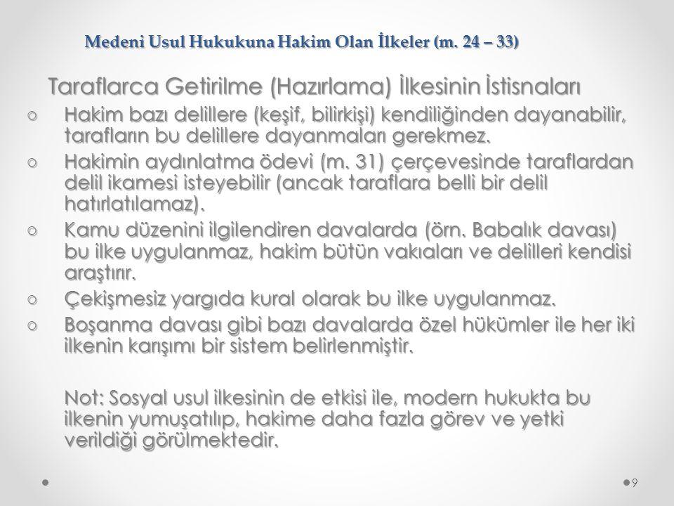 Medeni Usul Hukukuna Hakim Olan İlkeler (m.24 – 33) 12.