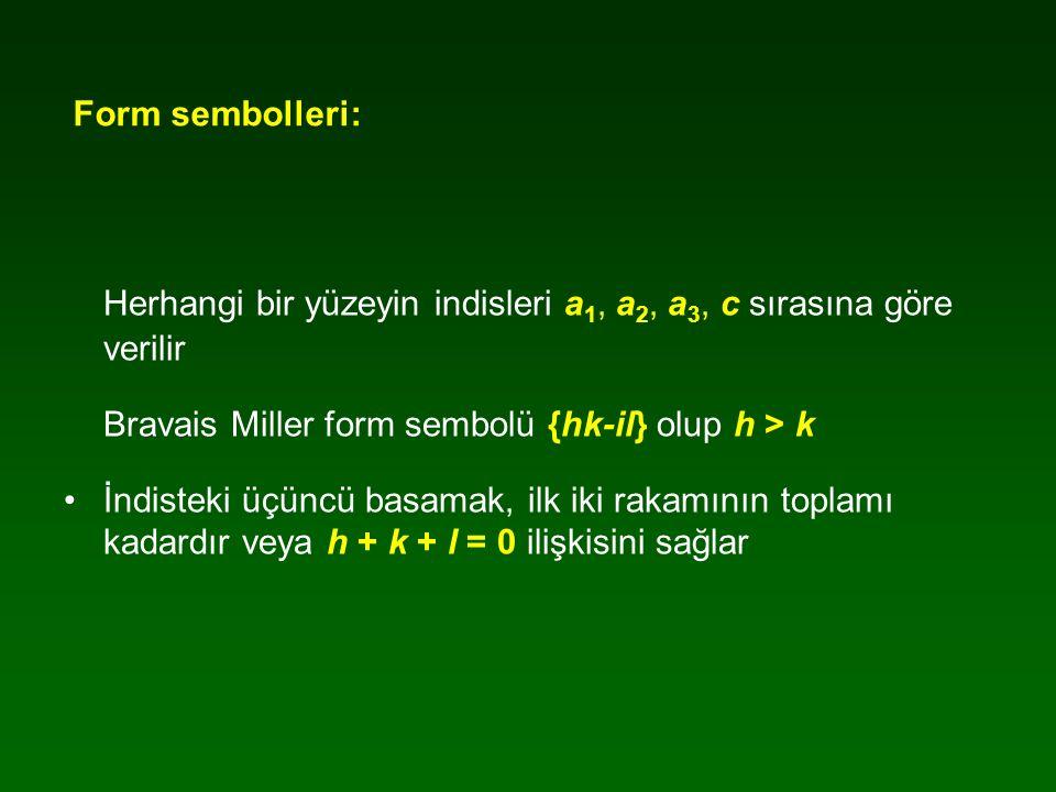 Form sembolleri: Herhangi bir yüzeyin indisleri a 1, a 2, a 3, c sırasına göre verilir Bravais Miller form sembolü {hk-il} olup h > k İndisteki üçüncü basamak, ilk iki rakamının toplamı kadardır veya h + k + l = 0 ilişkisini sağlar